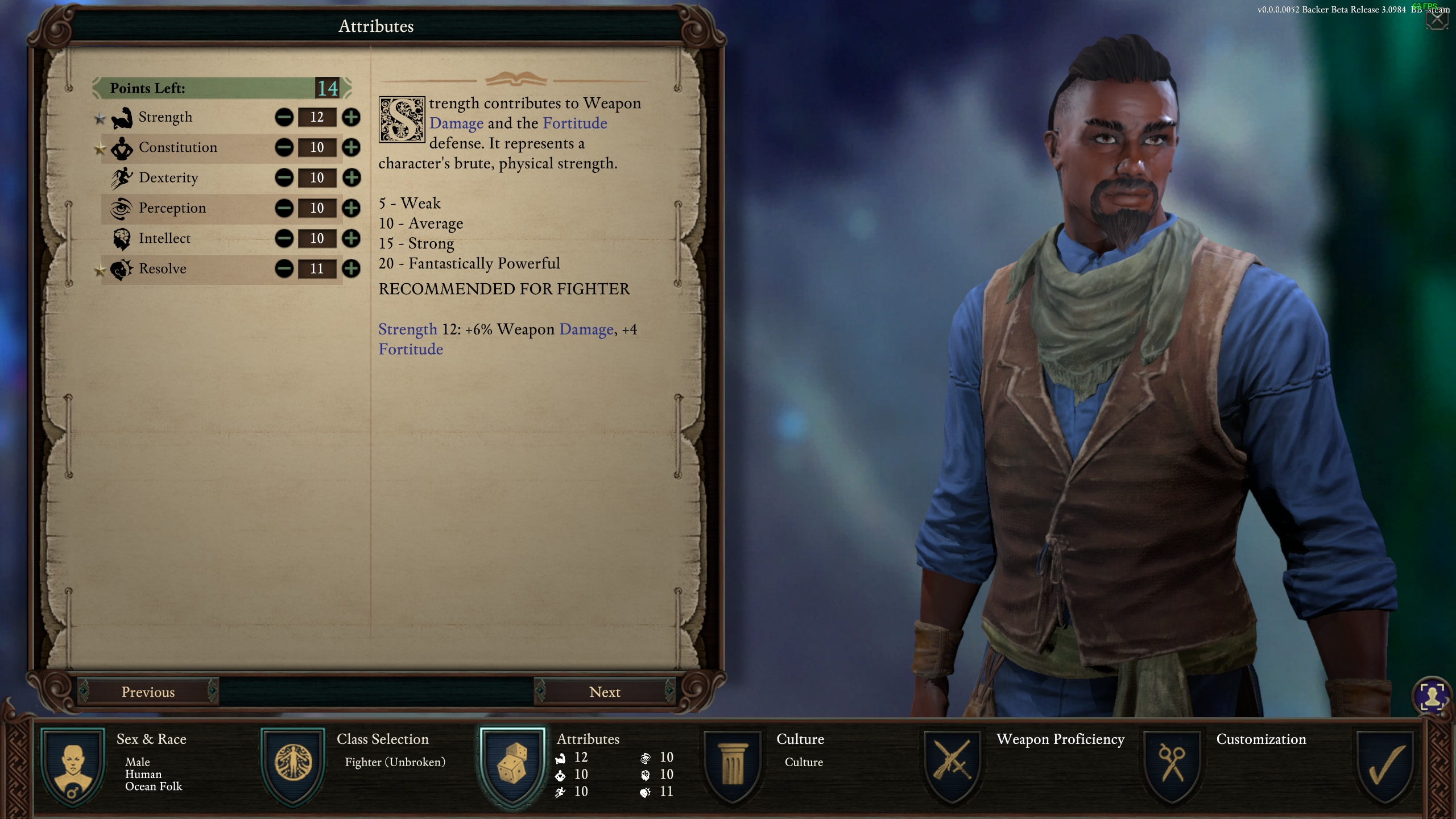 Pillars of Eternity 2: Deadfire character creation