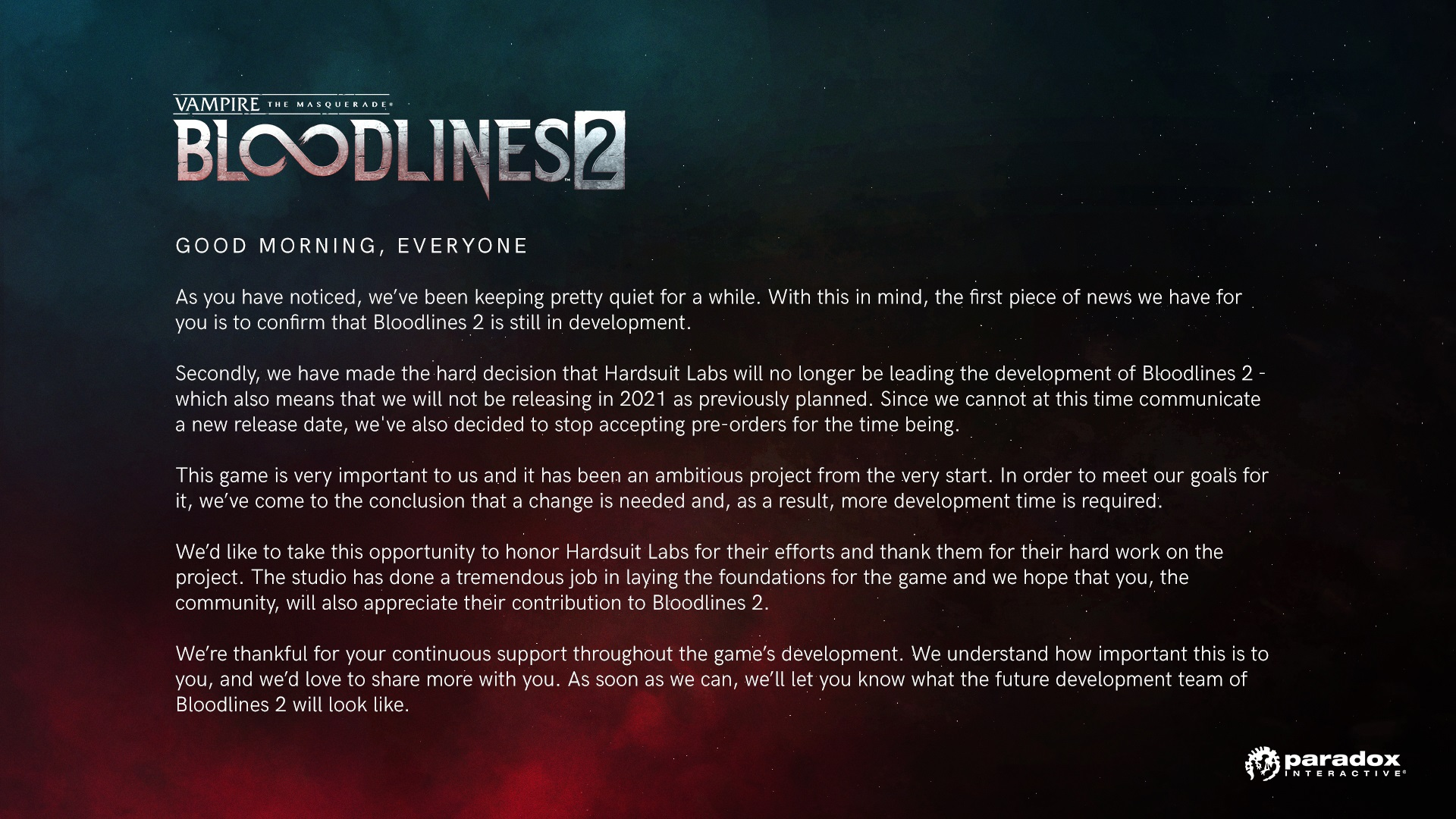 Vampire: The Masquerade - Bloodlines 2 delay announcement