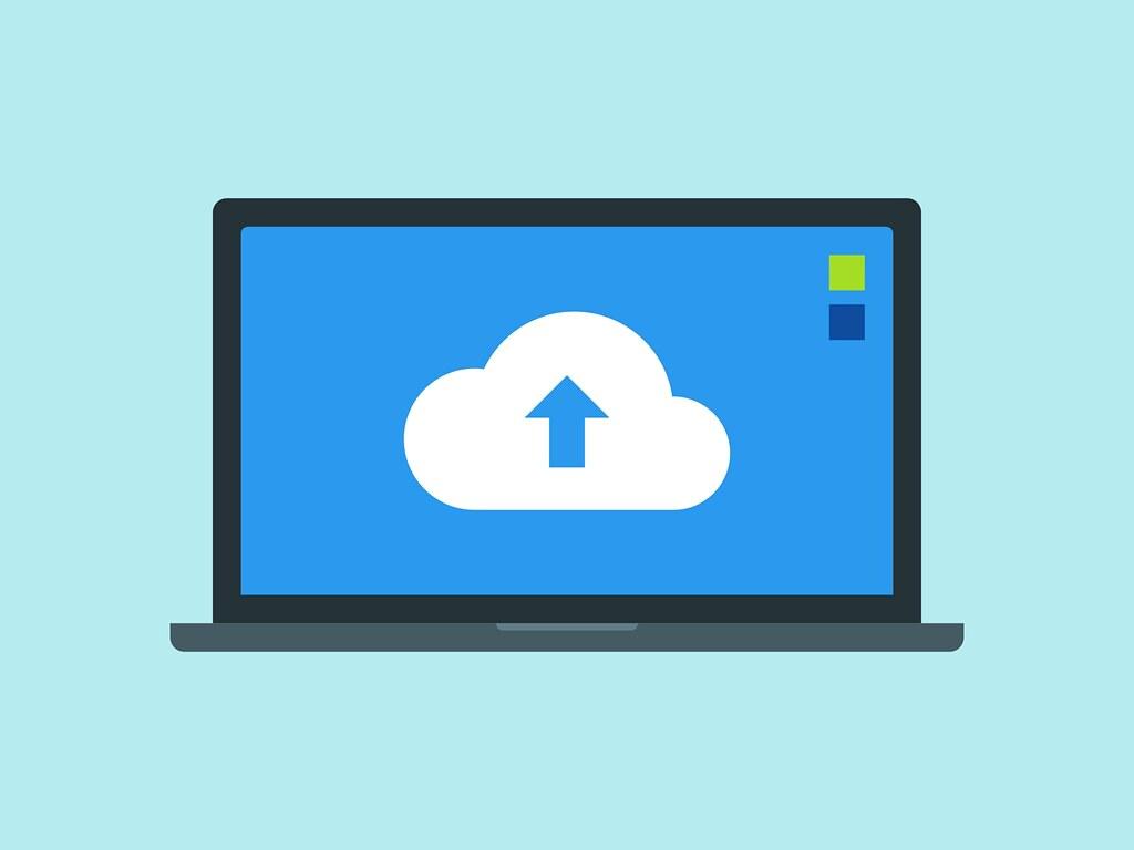 Laptop uploading data to cloud
