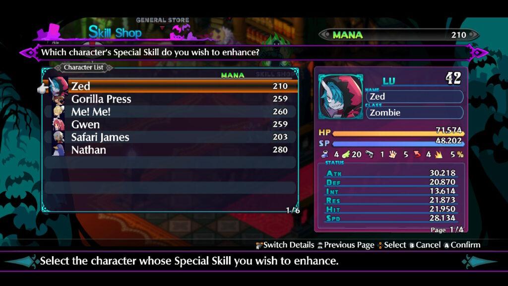 Disgaea 6: Defiance of Destiny menus